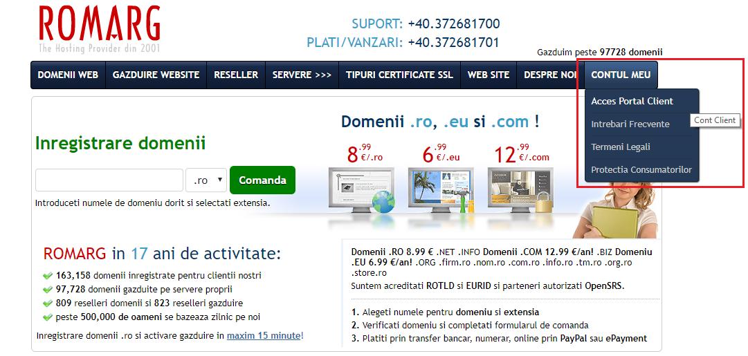 acces aria de client din site